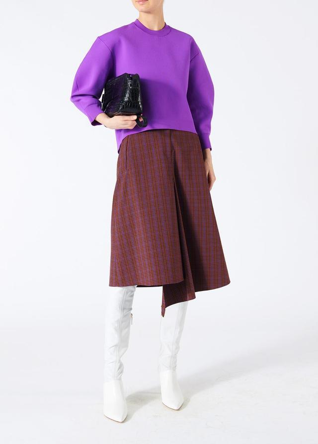 Menswear Check Drape Pencil Skirt
