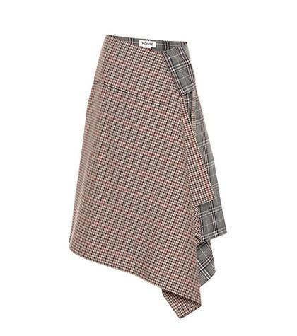 Plaid wool-blend asymmetric skirt