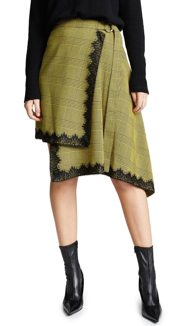 Wrap Plaid Skirt