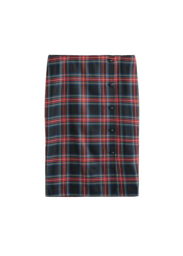 Buttoned checked skirt
