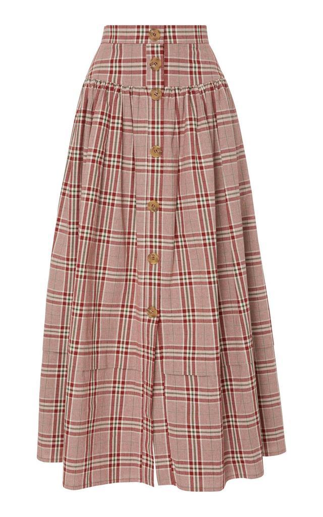 Freya Pleated Checked Cotton-Poplin Midi Skirt