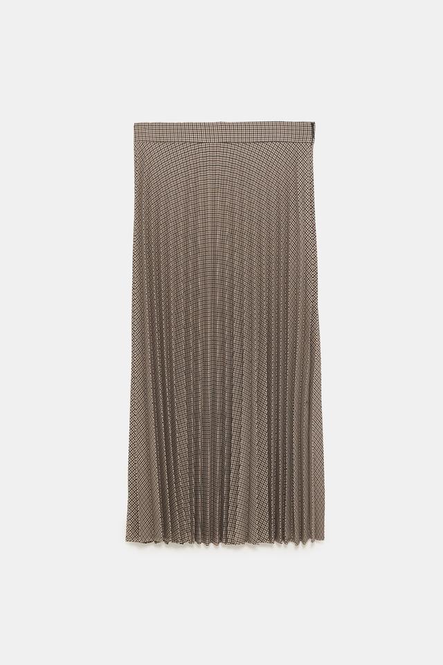 Zara Pleated Plaid Skirt