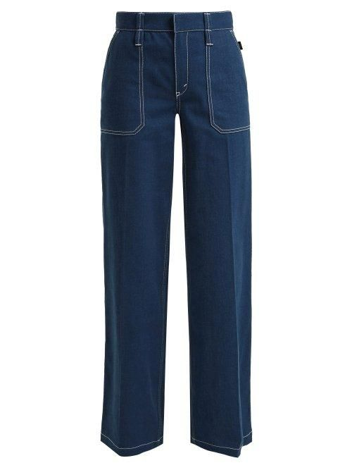 - Contrast Stitching Wide Leg Denim Jeans - Womens - Denim