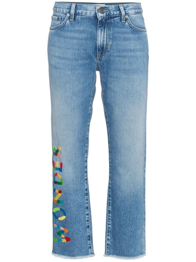 Wonder embroidered cropped jeans