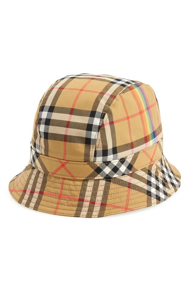 Rainbow Stripe Vintage Check Bucket Hat