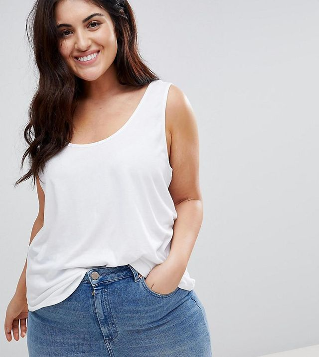 ASOS DESIGN Curve ultimate tank in white