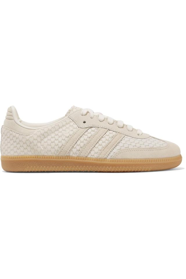 Samba Suede-trimmed Snake-effect Leather Sneakers