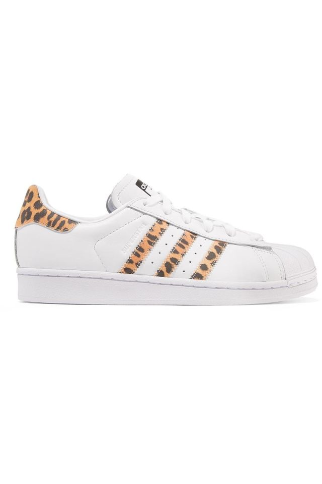 Superstar Leopard Print-trimmed Leather Sneakers