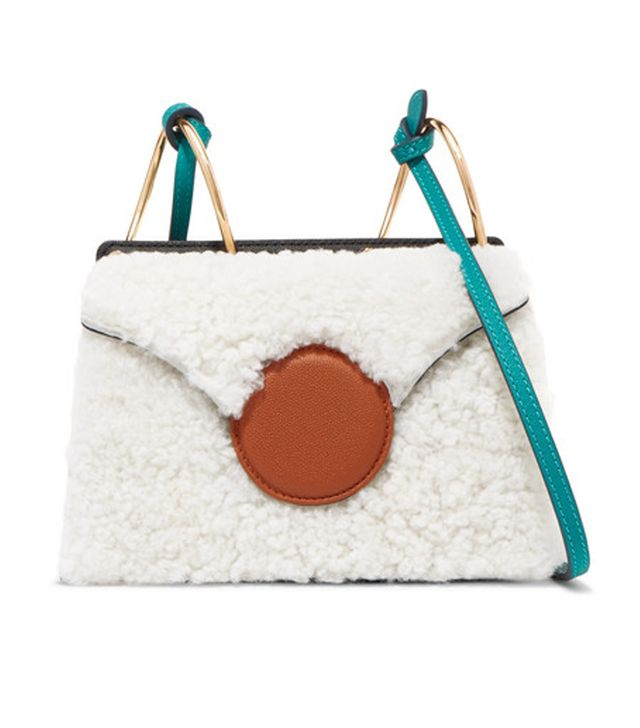 Phoebe Mini Color-block Shearling And Leather Shoulder Bag