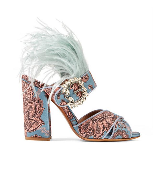 Johanna Ortiz Reyner Embellished Printed Satin Sandals