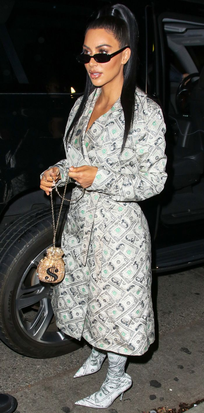 Kim Kardashian West Just Wore an Outfit Made Entirely Out of Dollar Bills