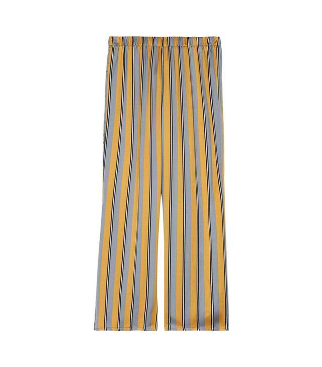Intimissimi Righe Mustard Print Viscose-Satin Pajama Pants