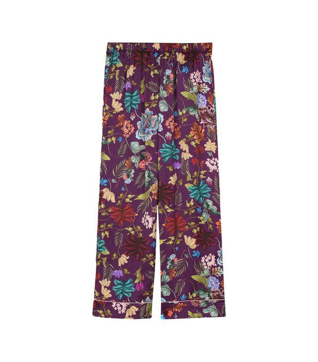 Intimissimi Fiori Prugna Print Viscose-Satin Pajama Pants