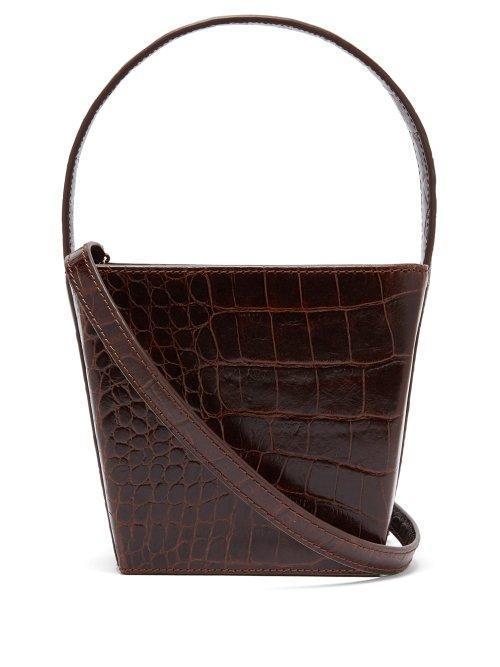 - Edie Crocodile Effect Leather Bucket Bag - Womens - Brown