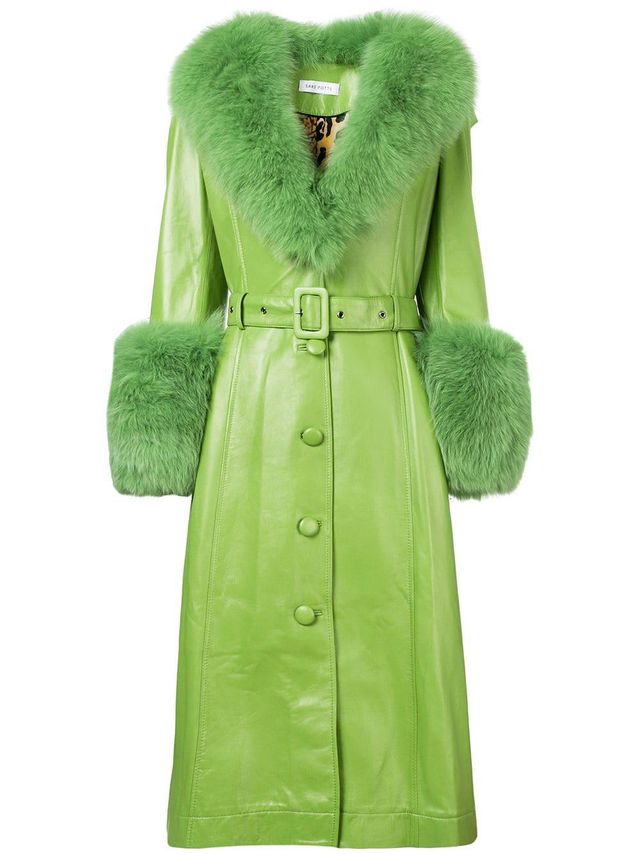 belted long fur coat