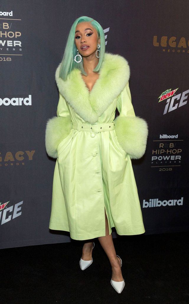Cardi B wearing a Saks Potts coat in NYC