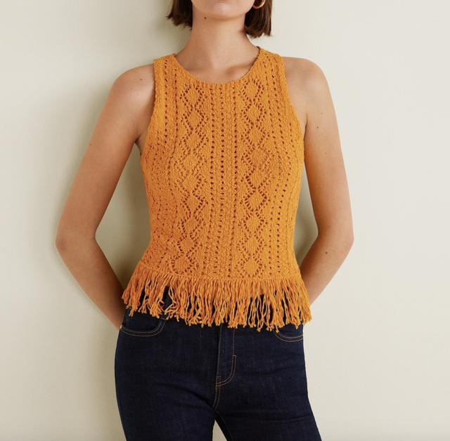 Intermix Heidi Crochet White Knit Tank White L