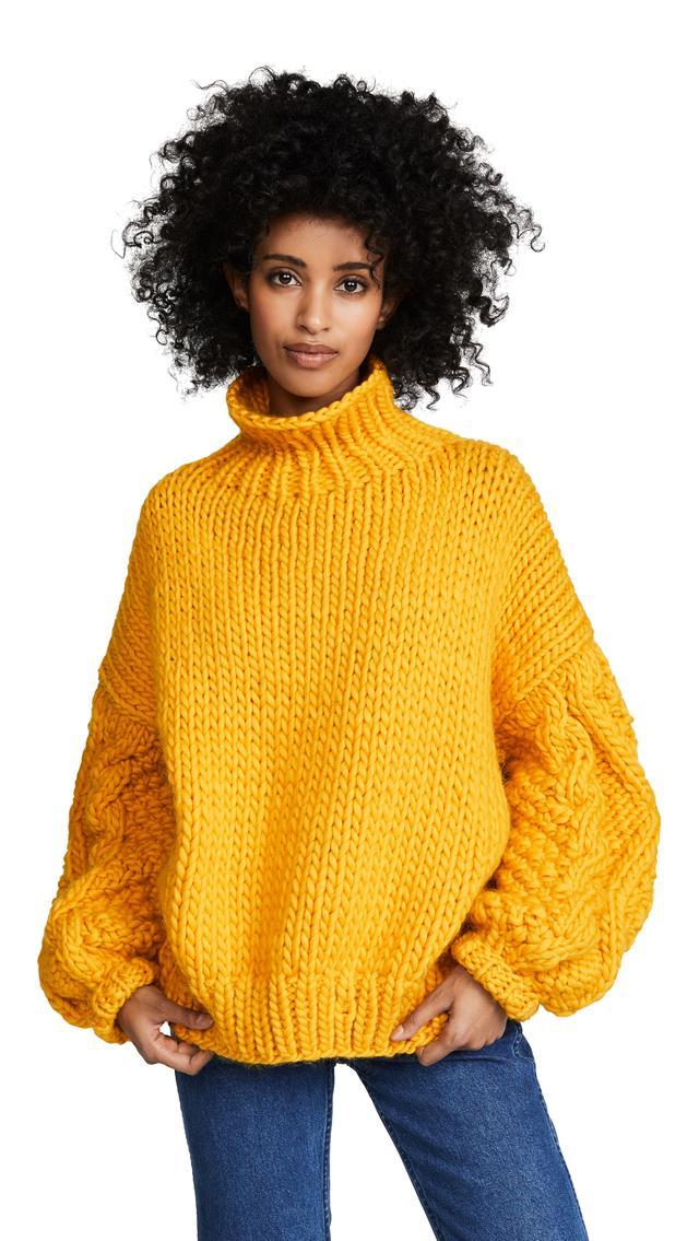 Diamond Sleeve High Neck Sweater