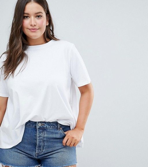 ASOS DESIGN Curve t-shirt with wrap back in white