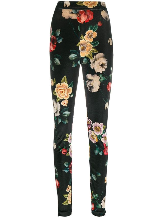 floral print skinny trousers