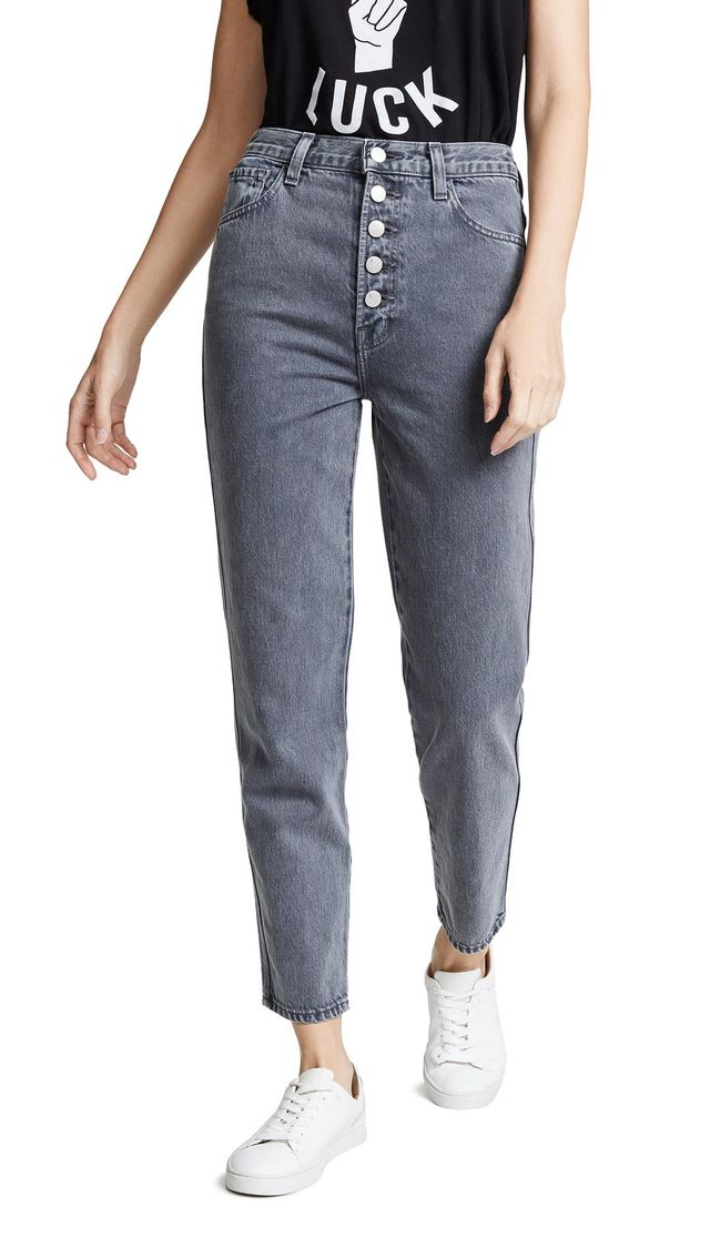 Heather Button Fly Jeans