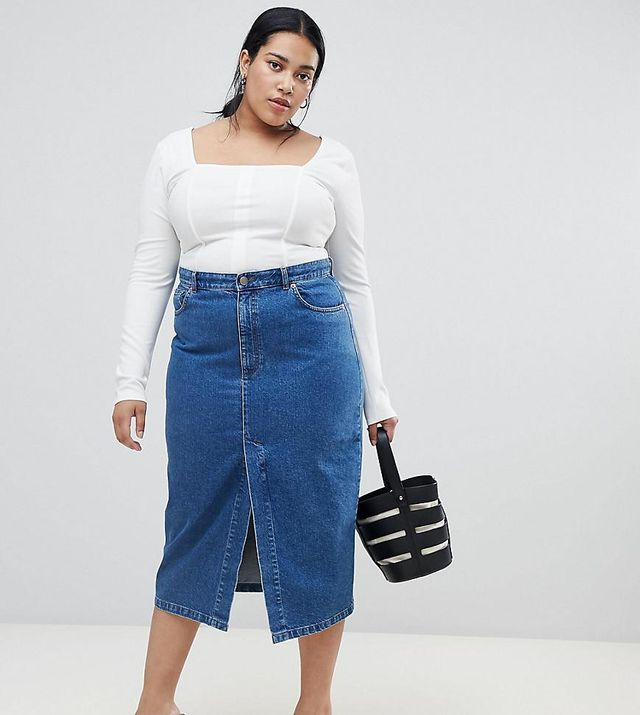 ASOS DESIGN Curve denim midi skirt with split front in midwash blue