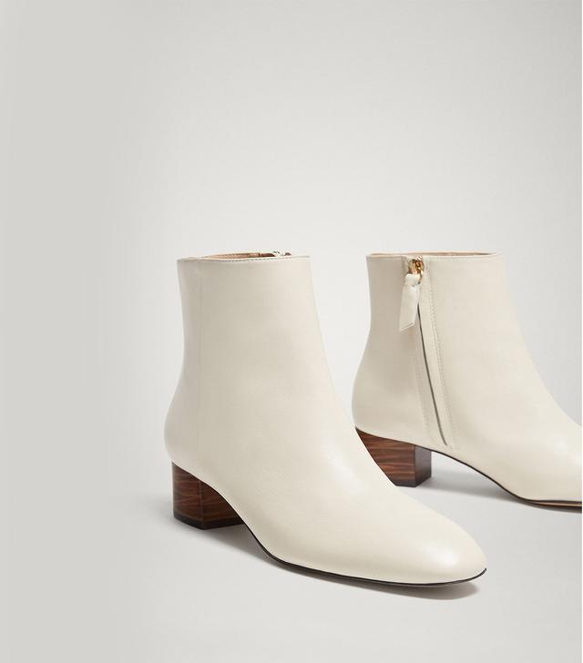 Massimo Dutti White Nappa Ankle Boots