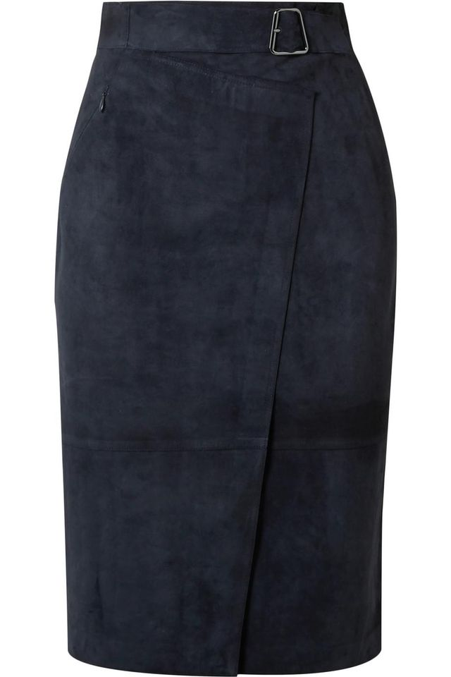 Belted Wrap-effect Suede Skirt