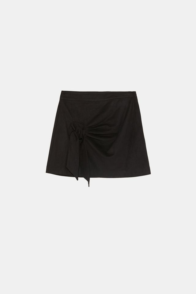 Zara Faux-Suede Skirt With Knot
