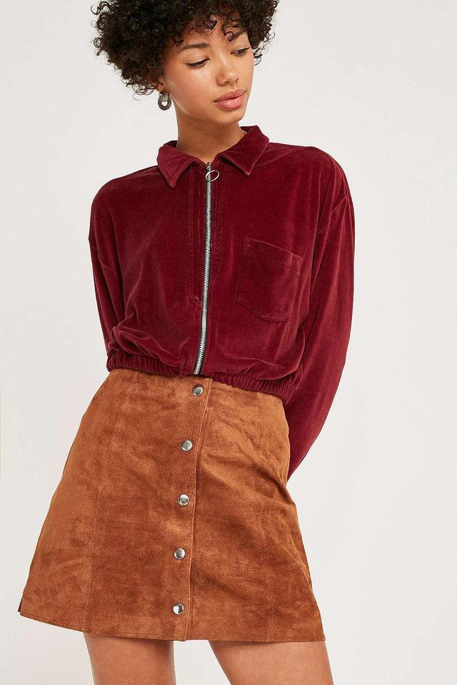 UO Jonie Tan Suede Mini Skirt