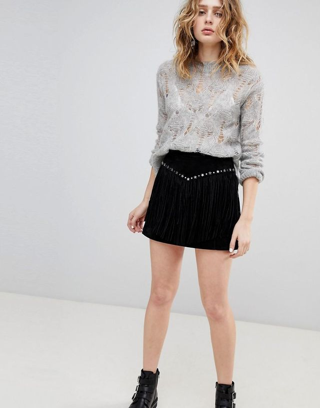 Suede Skirt with Fringing and Studs