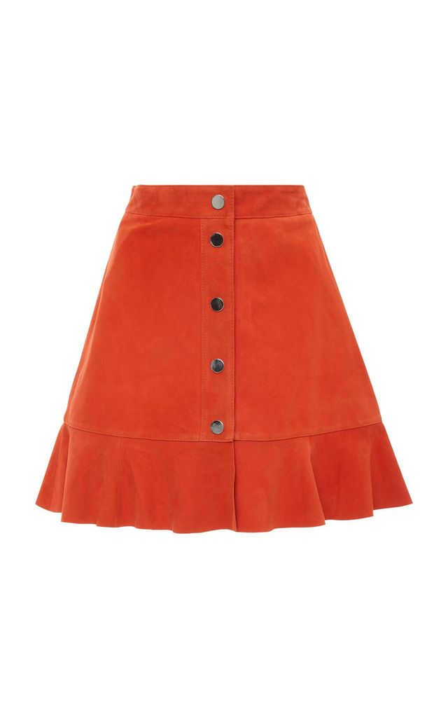 Salvia Button Front Suede Mini Skirt