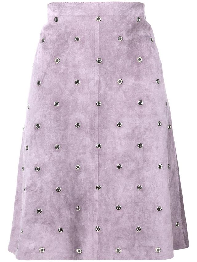 lilac suede skirt