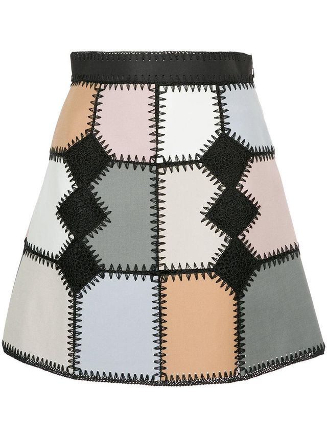 faux suede patchwork mini skirt