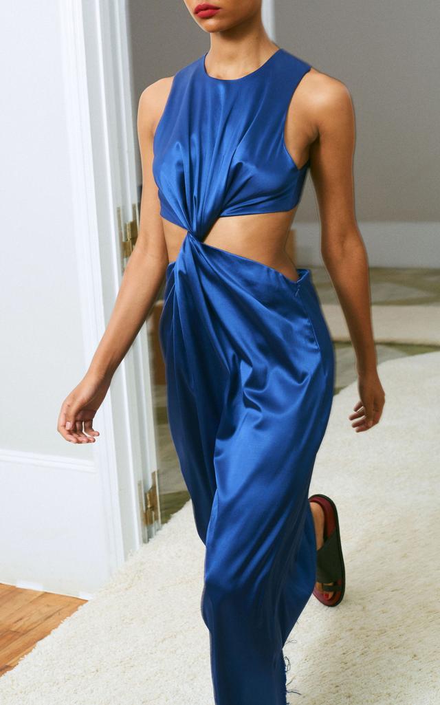 Cutaway Satin Twist Dress