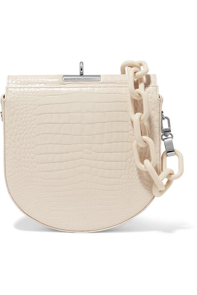 Demi-lune Croc-effect Leather Shoulder Bag