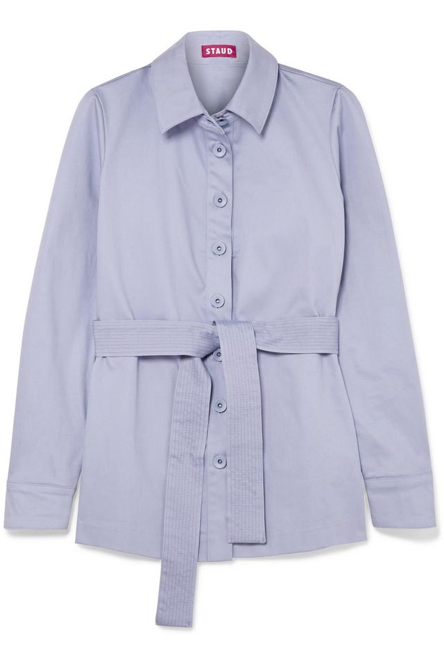 Sabrina Belted Stretch-cotton Jacket