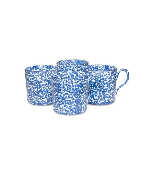 Set Of 4 Spongeware Coffee Mugs