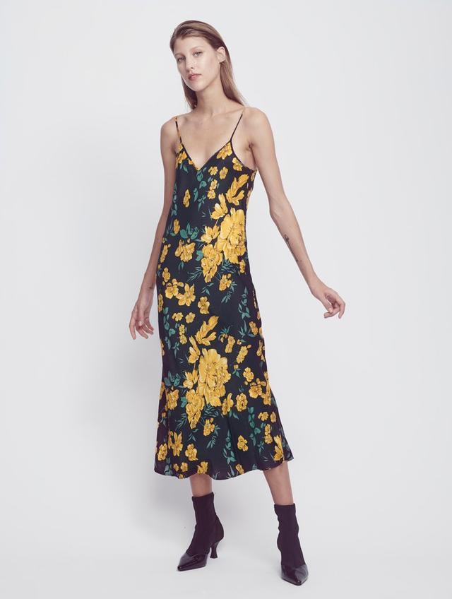 Silk Laundry '90s Silk Slip Dress in Yellow Flora