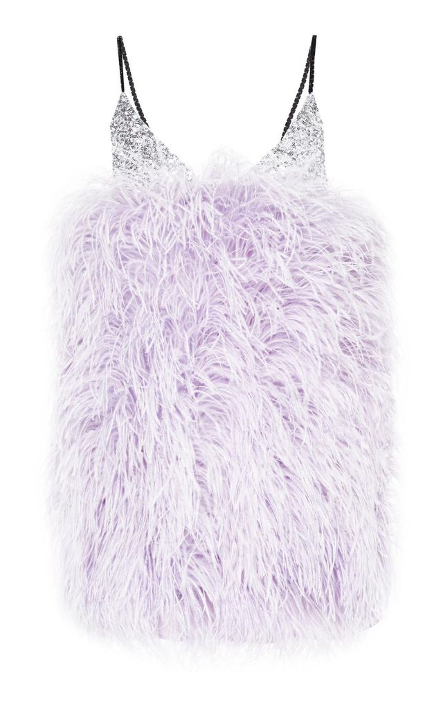 Sequins And Feathers Mini Slip Dress