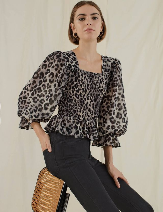 Pixie Market Leopard Smocked Top