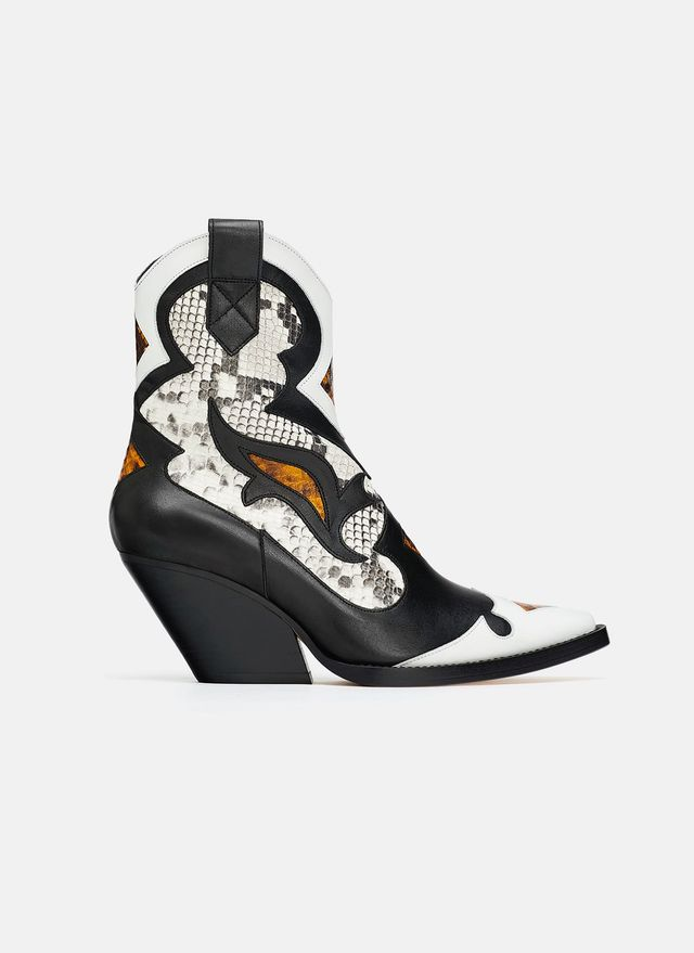 Zara Animal-Print Leather Cowboy Ankle Boots