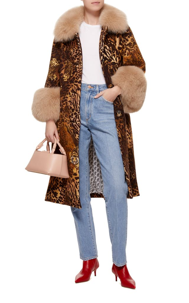 Yvonne Animal Print Fur Trimmed Wool Coat