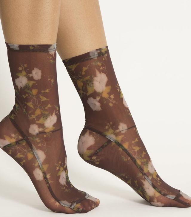 Darner Rosendal Floral Mesh Socks