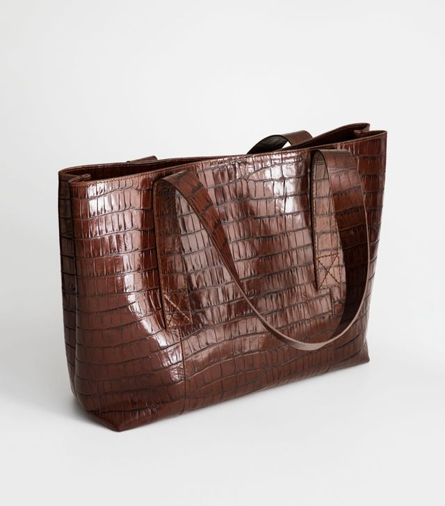 & Other Stories Crocodile Embossed Leather Tote Bag