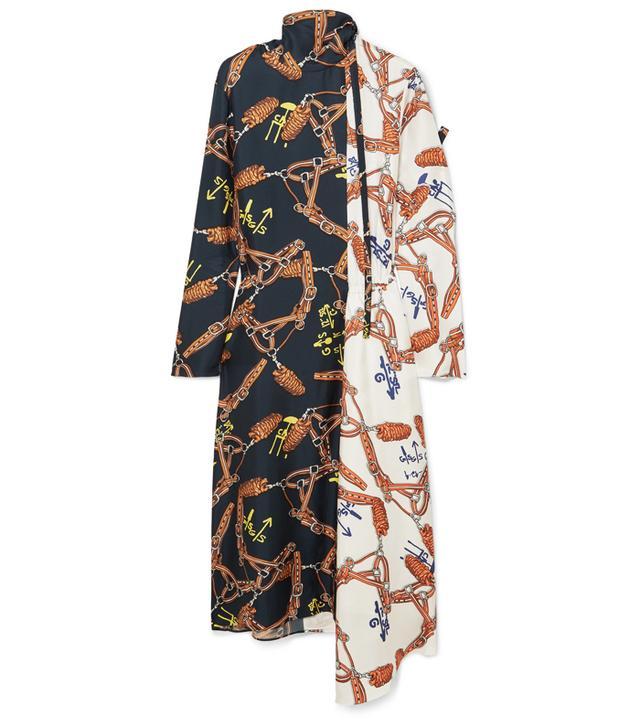 Tibi Paneled Printed Silk-Twill Dress