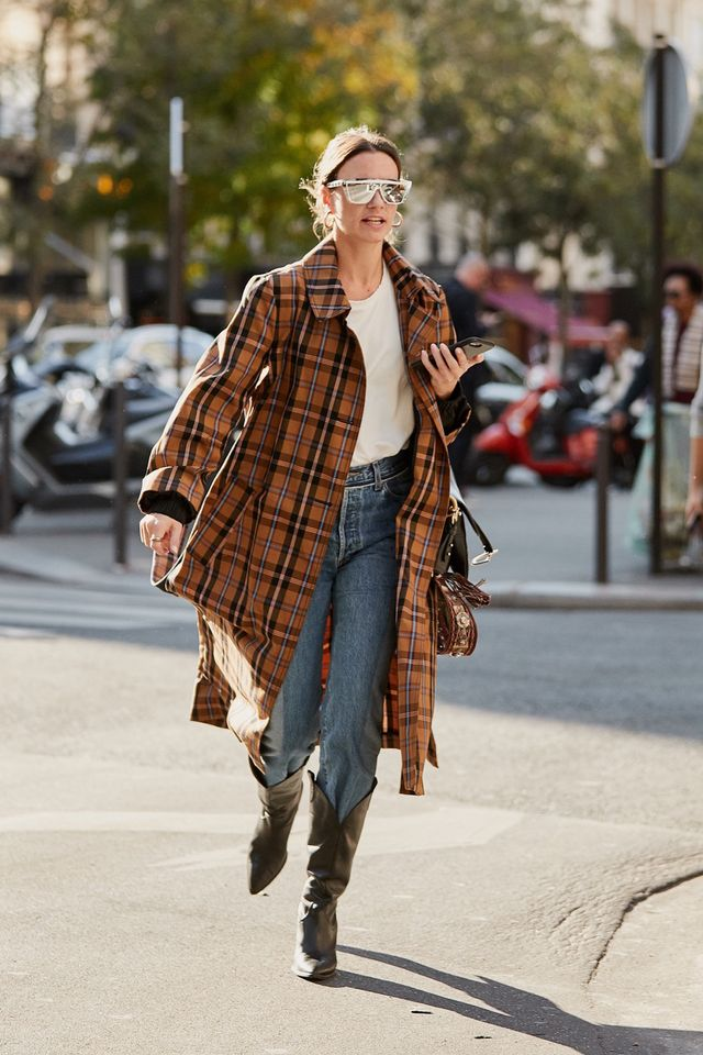 Plaid Trench Coat, Jeans, and Boots
