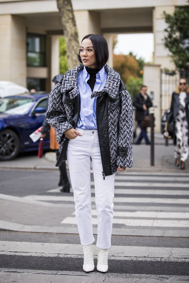 Yoyo Cao Coat and White Jeans and Boots