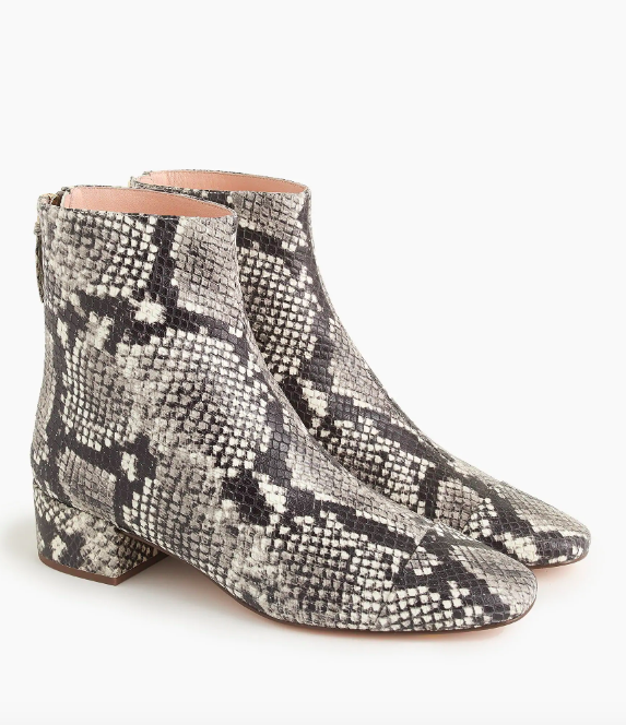 J.Crew Cap-Toe Ankle Boots in Faux Snakeskin