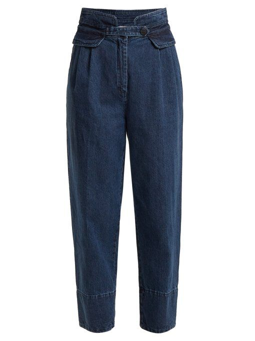 - High Rise Straight Leg Cropped Jeans - Womens - Indigo